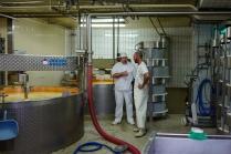 Echange avec un conseiller technique d'un laboratoire extérieur sur la qualité du fromage.